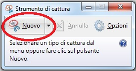 Windows screenshot Strumento di cattura